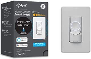 C by GE 3-Wire Smart Motion Sensor Light Switch, Smart Dimmer Switch Compatible with Google Home + Alexa, Dimmer Smart Swi...