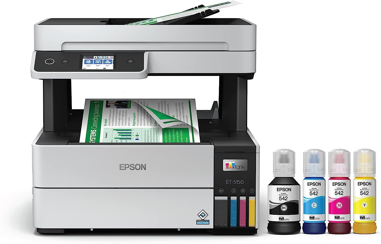 Epson EcoTank Pro ET-5150 Wireless Color All-in-One Supertank Printer with Scanner, Copier, Plus Auto Document Feeder
