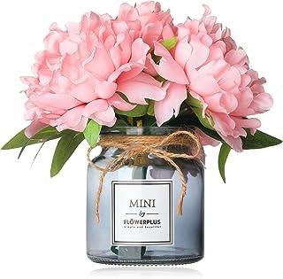 MISBEST Artificial Flowers with Vase, Fake Peony Flowers Bouquet,Faux Flower Arrangements for Home Decor