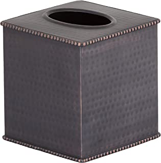 Gramercy Accents, Heavyweight Brass, Hammered Oil Rubbed Bronze Finish, Boutique Tissue Box Cover, 4.75 Inches by 5.5 Inches