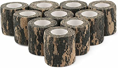 DROK 2.0 Inches 4.92yds 14.76ft Camo Hunting Bandage Roll, 10pcs ACU Camouflage Adhesive Tape, Nonwoven Fabric Cohesive Bandage, Flexible Hunting Decor Stealth Protective Tape for Hunting Accessory