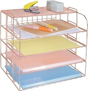 LEORISO 4-Tier Stackable Letter Tray, Rose Gold Desk Organizer, Metal File Organizer Tray, Paper Holder Rack, Desk Accesso...