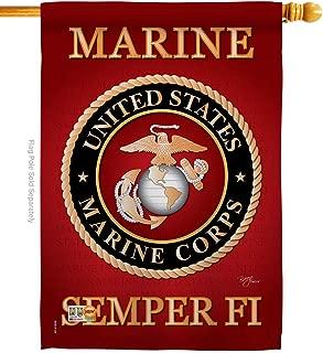 Breeze Decor - Marine Corps Americana - Everyday Military Impressions Decorative Vertical House Flag 28