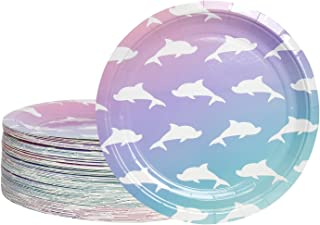Disposable Plates - 80-Count Paper Plates, Dolphin Party Supplies for Appetizer, Lunch, Dinner, and Dessert, Kids Birthdays, 9 inches in Diameter