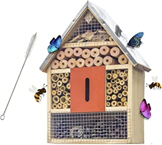 FUNPENY Wooden Insect House, Insect Hotel with Brush for Butterfly, Bees and Ladybugs