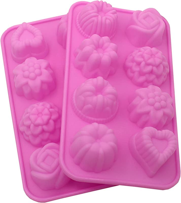 Zicome 8 Cavity Adorable Flower Leaf Silicone Soap Mold Cake Decoration Mold Set Of 2