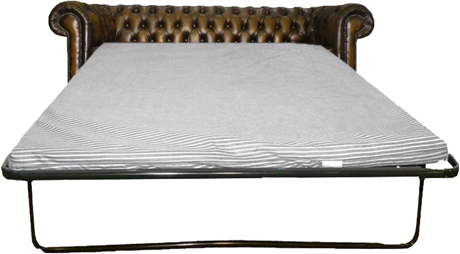 CK Chesterfield Genuine Leather Antique Brown Three Seater Sofa Bed Antique Blue
