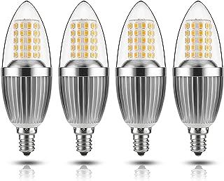 GEZEE LED Candelabra Bulb, Non-Dimmable100-Watt Light Bulbs Equivalent, 12WLED Candle Bulbs,Warm White 3000KChandelier Bulbs, E12 Candelabra Base, 120V, 1200Lumens, 4.7in,Torpedo Shape(4 Pack)
