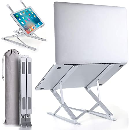 """2021 Upgraded Multi-Angle 2-Layer Height Adjustable Laptop Stand for Desk   Lightweight Ergonomic Portable Laptop Stands   Foldable Aluminum Riser   MacBook Stand Pro Air or Any Devices up to 15.6"""""""