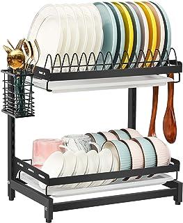 X-cosrack Égouttoir à vaisselle à 2 étages en acier inoxydable 304 avec égouttoir et crochets pour ustensiles de cuisine, ...