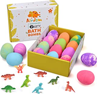 Airdom Dinosaur Bath Bombs for Kids - Set of 12 Egg Bubble Fizzies - Surprise Dino Toy Inside - Gentle and Kids Safe Spa B...