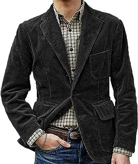 Men's Corduroy Casual Blazer Three Buttons Solid Color Loose Suit Jacket