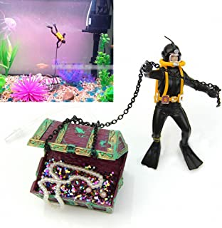 Sunyiny Aquarium Fish Tank Ornament Moving Treasure Chest Live-Action Aerating Floating Diver, and Bubble Action Aquarium Decoration