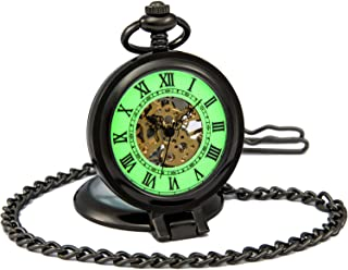 SEWOR Vintage mecánica Mano Viento Reloj de Bolsillo Luminosa Esfera Lupa de Cristal