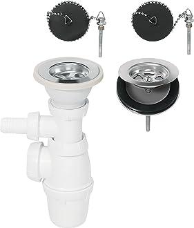 Prise machine /à laver Wirquin SP3239 Siphon 2 Bouchons /à cha/înette Tubulure 2 Bondes