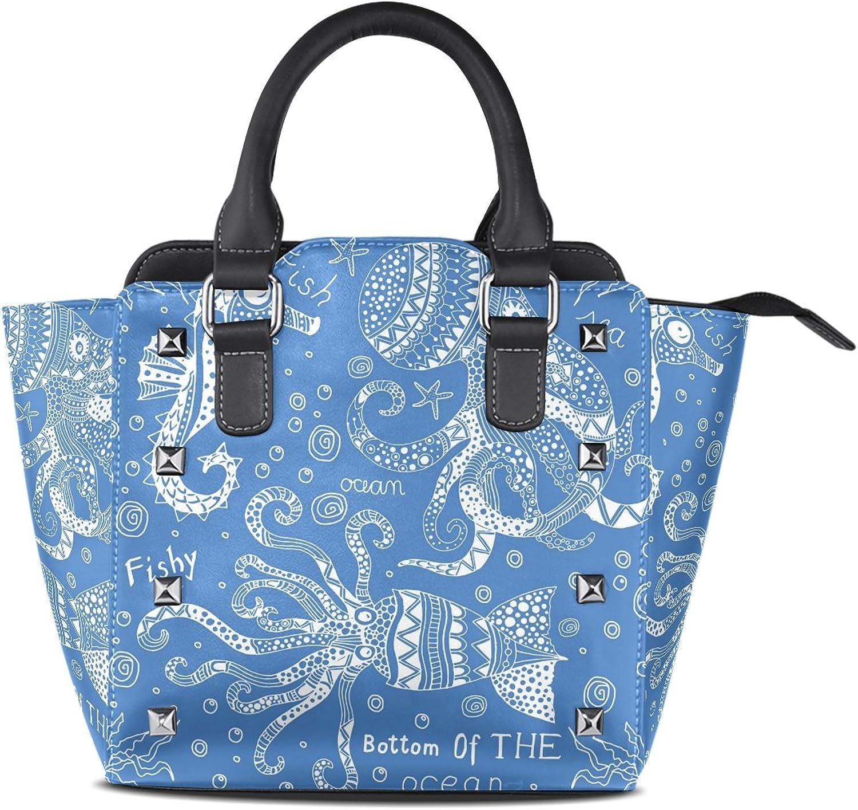 My Little Nest Women's Top Handle Satchel Handbag Sea Horse Squid Octopus Ladies PU Leather Shoulder Bag Crossbody Bag