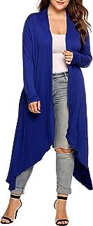 Women's Plus Size Cardigan Long Sleeve Open Front Drape Cardigans Lightweight Long Duster