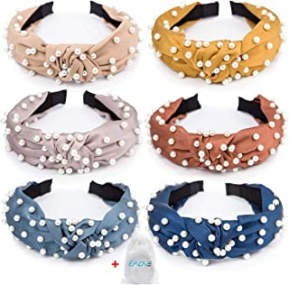 EAONE Pearl Headbands Knotted Headbands for Women 6 Colors, Knot Turban Headband Fashion Hair Bands Wide Headbands Hair Accessories for Girls with 1 Pouch Bag