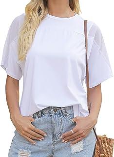 Women's Short Sleeve Crew Neck T-Shirt White, Mesh...