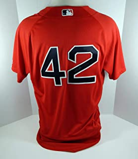 2016 Boston Red Sox Mike Brenly #42 Game Used Signed Red Jackie Robinson Jersey - Game Used MLB Jerseys