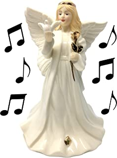 Sympathy Angel Revolving Music Box - Porcelain Angel Figurine Holding a Dove and Gold Rose - Plays Music: The Wind Beneath...