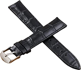 12-22mm Black Luxury Leather Watch Bands Strap Replacement for Women Moderate Padding Genuine Cowhide