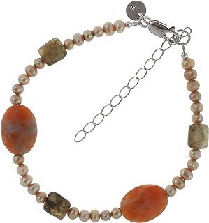 Pulsera para mujer de plata de ley 925 con labradorita y perlas de calcita de 19,5 – 24,5 cm