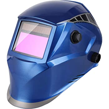 FIXKIT Casco Soldadura de Oscurecimiento Automático con 4 Sensores, Careta Soldar con Gran Campo de Visión 100 * 56 mm, Protección UV: 16 Pasos (Oscuro: DIN 5-9,9-13), 5 Lentes de Recambio, color Azul