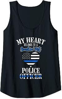 Womens My heart belongs to a smoking hot Police officer Tank Top