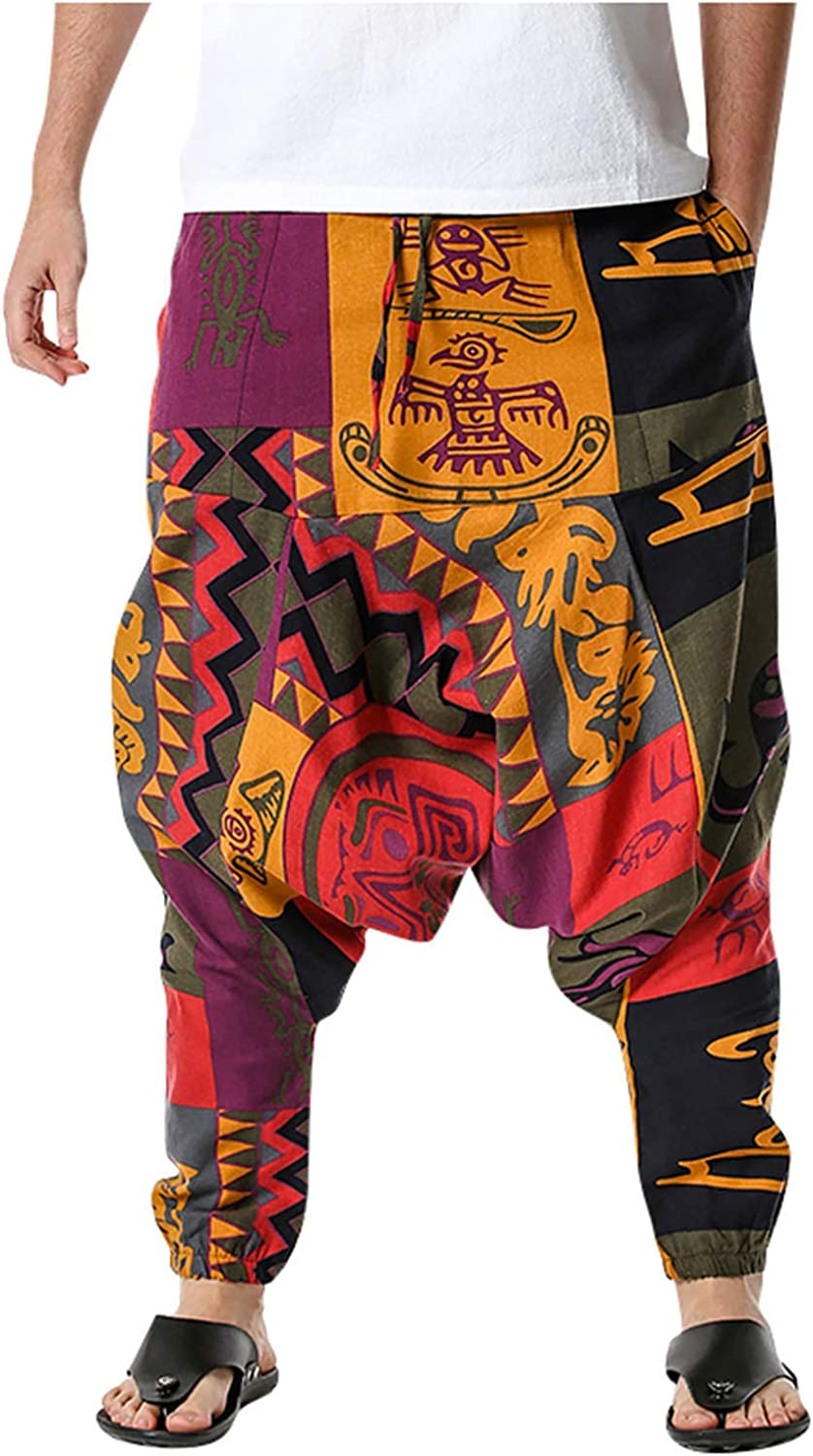 Men's Linen Baggy Hippie Boho Yoga Cheap mail order latest specialty store Pattern Harem P African Pants