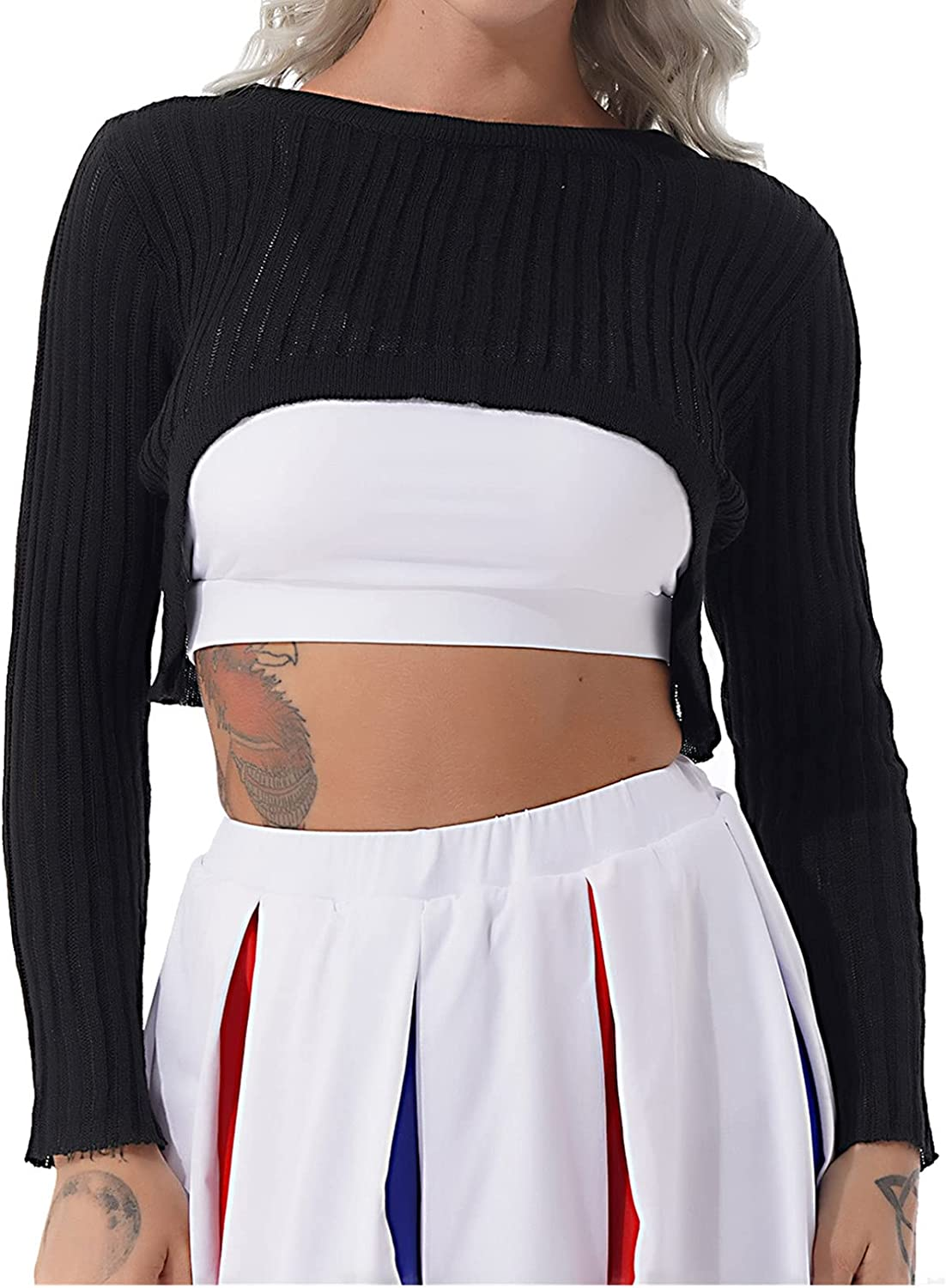 iiniim Women's Round Neck Knit Shrug Sweater Long Sleeve Cutout Crop Top Pullover Ribbed Cropped Knitwear