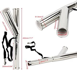 Amarine-made 1-Pack Special Design Stainless Steel Rod Holder for Boat with Rod Safety Strap and Clip