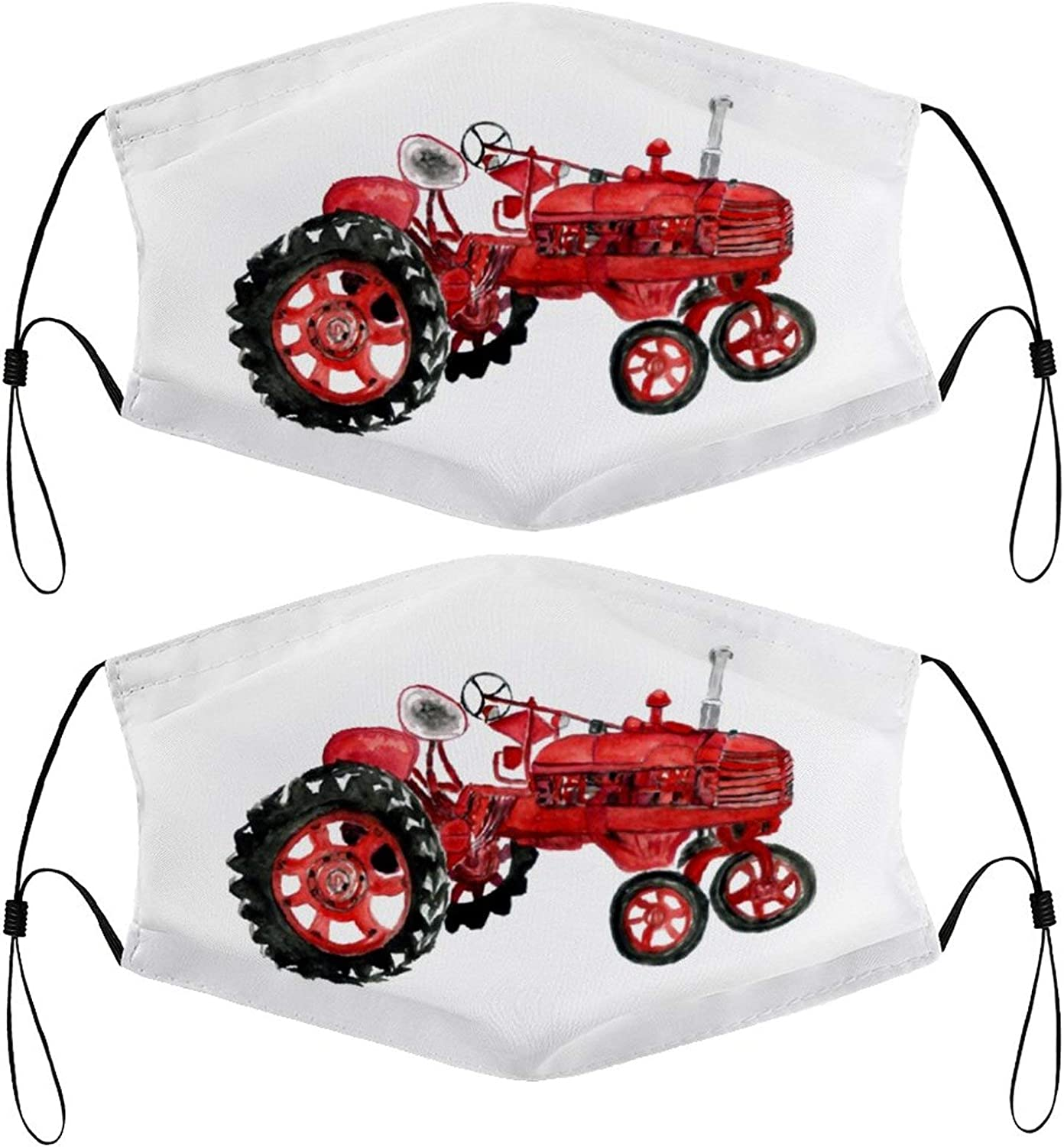 Old Tractor Classic Kids Face Masks Set of 2 with 4 Filters Washable Reusable Breathable Black Cloth Bandanas Scarf for Unisex Boys Girls