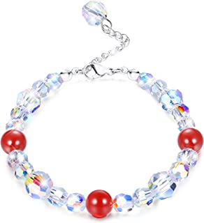 "KesaPlan Swarovski Crystals Bracelets, Swarovski Red Bead Aurora Crystals Bracelets for Women Girls Stretch Bracelets, Jewelry Gift for Christmas Day, 7""+2"""