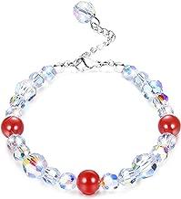 "KesaPlan Swarovski Crystals Bracelets, Swarovski Red Bead Aurora Crystals Bracelets for Women Girls Stretch Bracelets, Jewelry Gift for Christmas Day, 7""+2"""