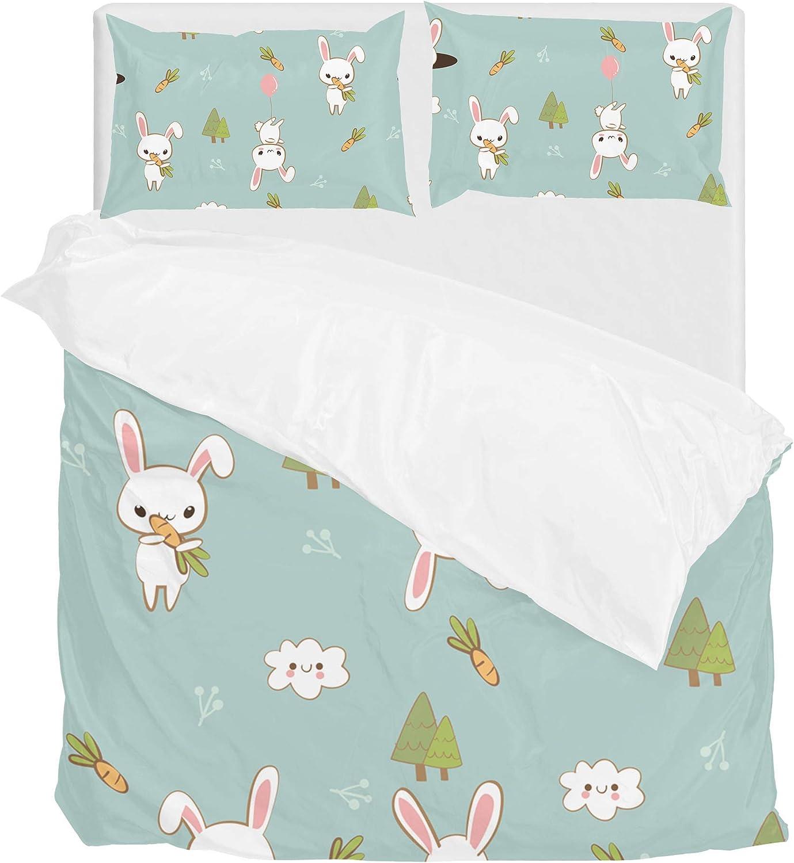 Lafle Parure de lit en Polyester avec Housse de Couette et taie d'oreiller Motif Lapin, Polyester, MultiCouleure, Double