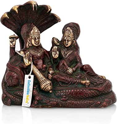 Collectible India Lakshmi Narayan (Laxmi Vishnu) Brass Idol showpiece Statue Temple Puja Sculputure