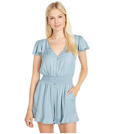 bobi Los Angeles Smocked Waist Button-Up Romper (Blue) Women