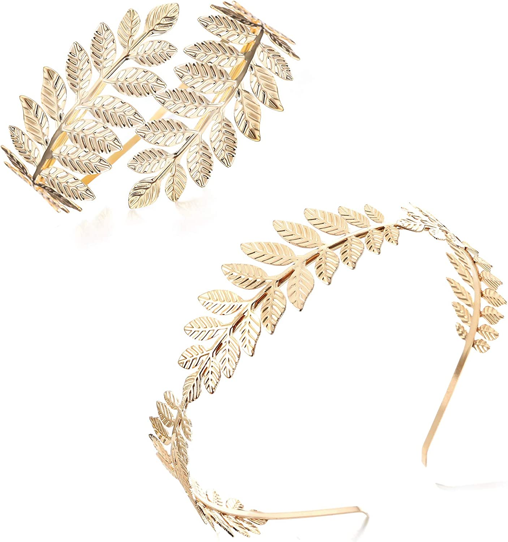 FINREZIO Greek Goddess Headband Arm Cuff Bridal Jewelry Set Roman Laurel Leaf Branch Crown Armlet Upper Arm Band Bracelet Adjustable