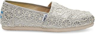 TOMS Womens Crochet Glitter Slip On Alpargata Flat Shoe, Silver, US 5.5