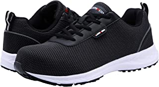 LARNMERN Steel Toe Womens Safety Shoes, Breathable Lightweight Reflective Strips SRC Industrial Construction Shoes (8.5 M US Women / 7.5 W US Men, Flyknit Black/White)