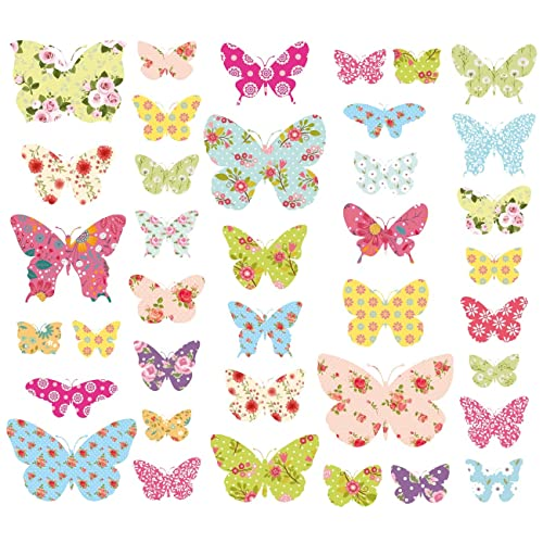 Decowall DW 1408 Patterned Butterflies Kids Wall Stickers Wall Decals Peel  And Stick Removable Wall