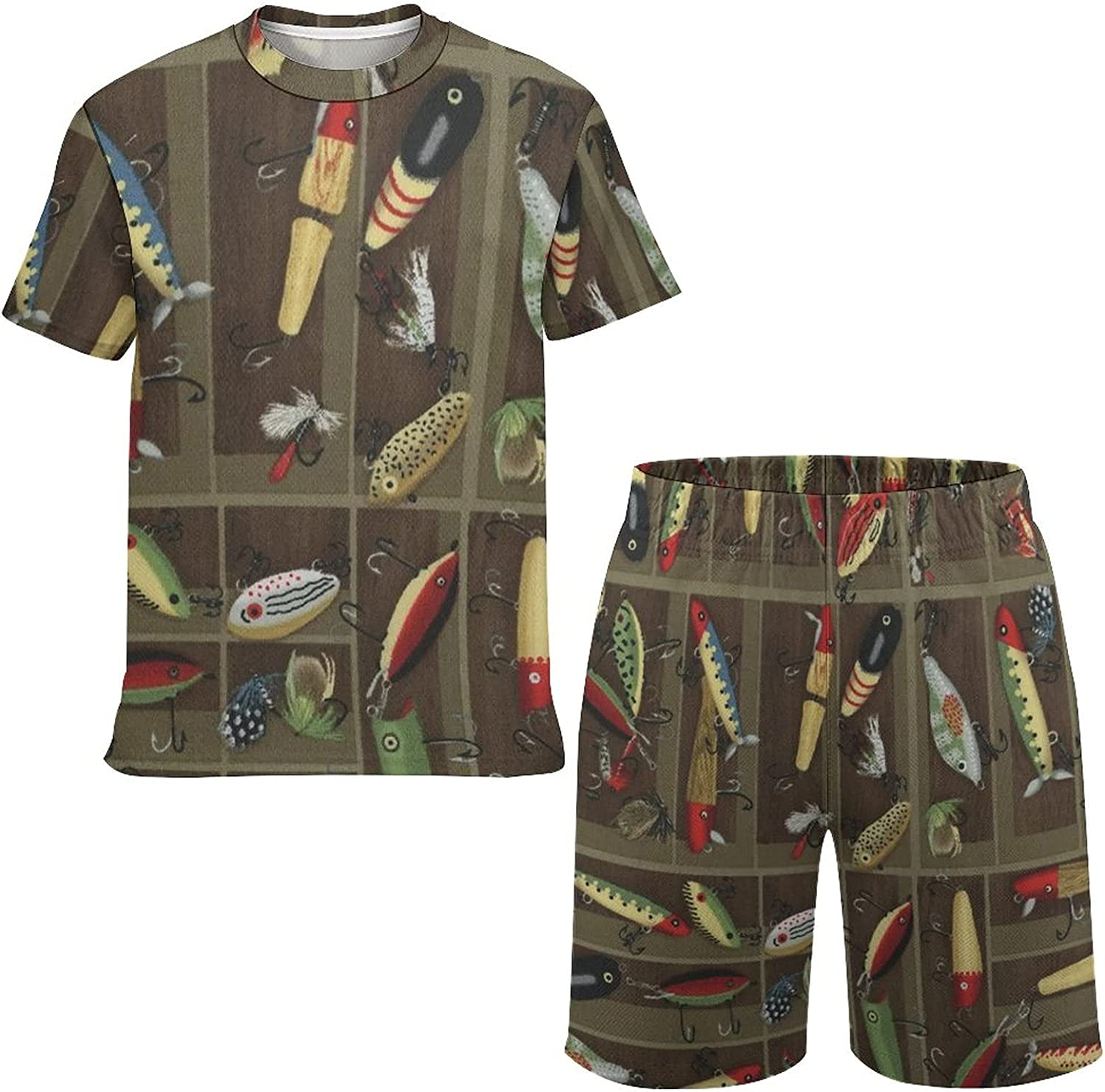 SWEET TANG Boys Casual Outdoor Tee T-Shirt and Short Summer Outfit 2 Piece Set, Vintage Fishing Lure Style Undershirt and Mesh Shorts, Funny Short Sleeve T-Shirts Tops Shorts for Workout, X-Small