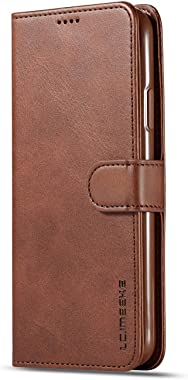 RuiJinHao iPhone Xs Flip Case Leather Cover Card Holders Cell Phone case Extra-Shockproof Business Kickstand Three Card Slot