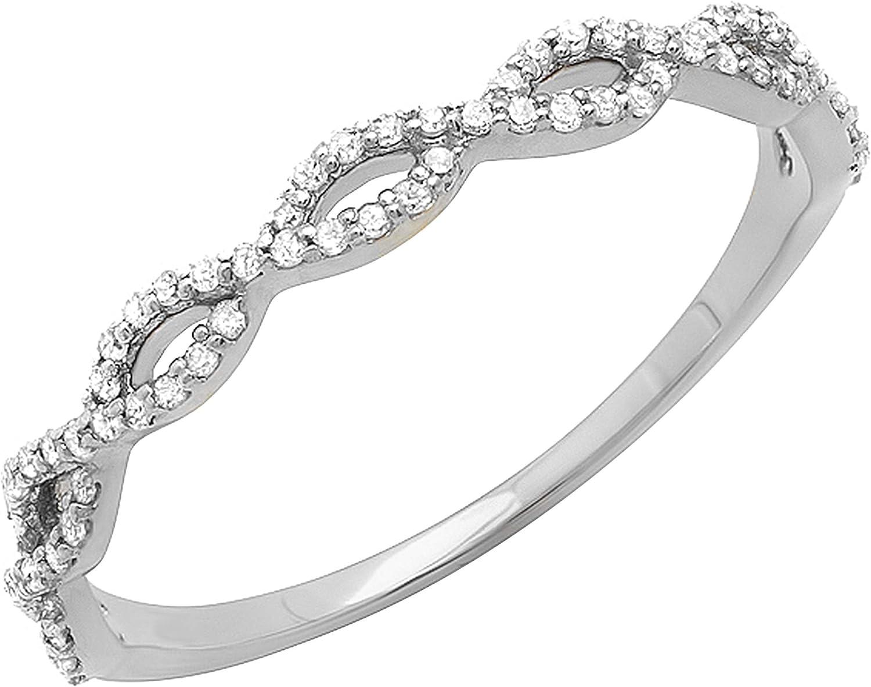 Dazzlingrock Collection 0.20 Carat (ctw) Round White Diamond Ladies Swirl Anniversary Wedding Band Stackable Ring 1/5 CT, 18K Gold