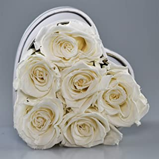 The Touch of Harmony Real Luxury Roses Preserved Flowers Unique Present Gift for Anniversary Birthday Valentines Day Mothers Day Graduation Long Lasting Lasts up to one Year White Heart Box (White)