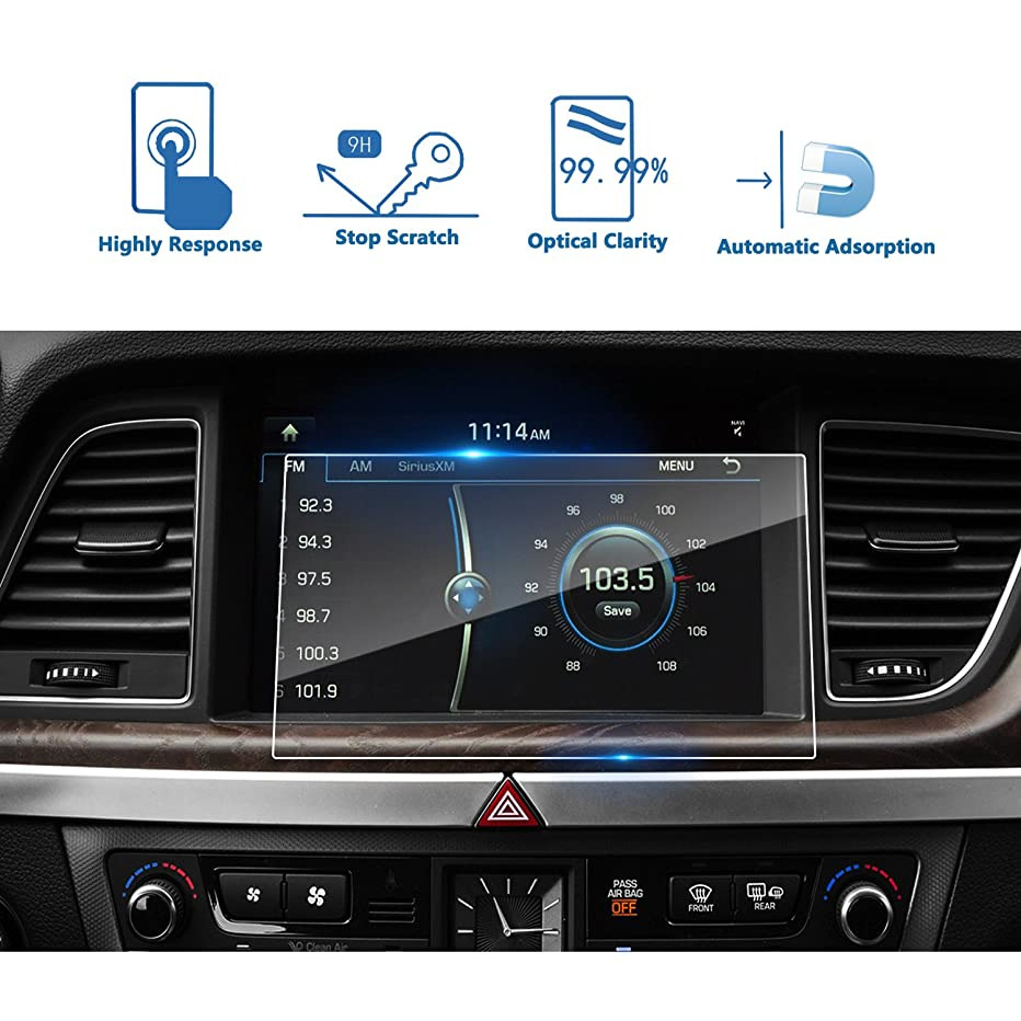 LFOTPP 2015-2018 Genesis G80 9.2 Inch Car Navigation Screen Protector, [9H] Tempered Glass Infotainment Center Touch Screen Protector Anti Scratch High Clarity