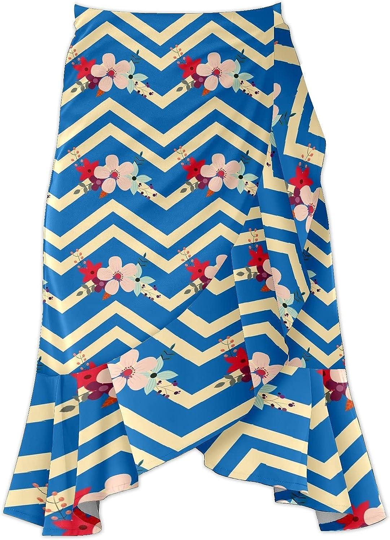 Women's Floral Pattern On V Background Irregular Hem Ruffle High Low Split A Line Midi Wrap Skirt