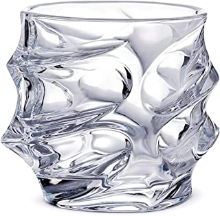 UKIFON Twist Whiskey Glasses Set of 2 Scotch Tumblers for Drinking Bourbon Cognac Irish Premium Lead-Free Crystal Tasting Cups -12 Ounces