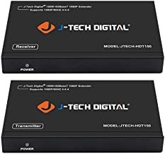 J-Tech Digital Long Range HDMI Extender Over Cat6 150m/492ft HDBaseT 1080P Extender PoC, Bi-Directional IR, Supports Dolby Digital, DTS, with EDID, CEC, RS-232 Passthrough (JTECH-HDT150)